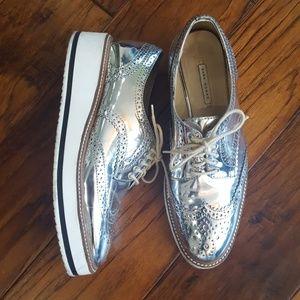 Zara mirrored silver brogues prada style